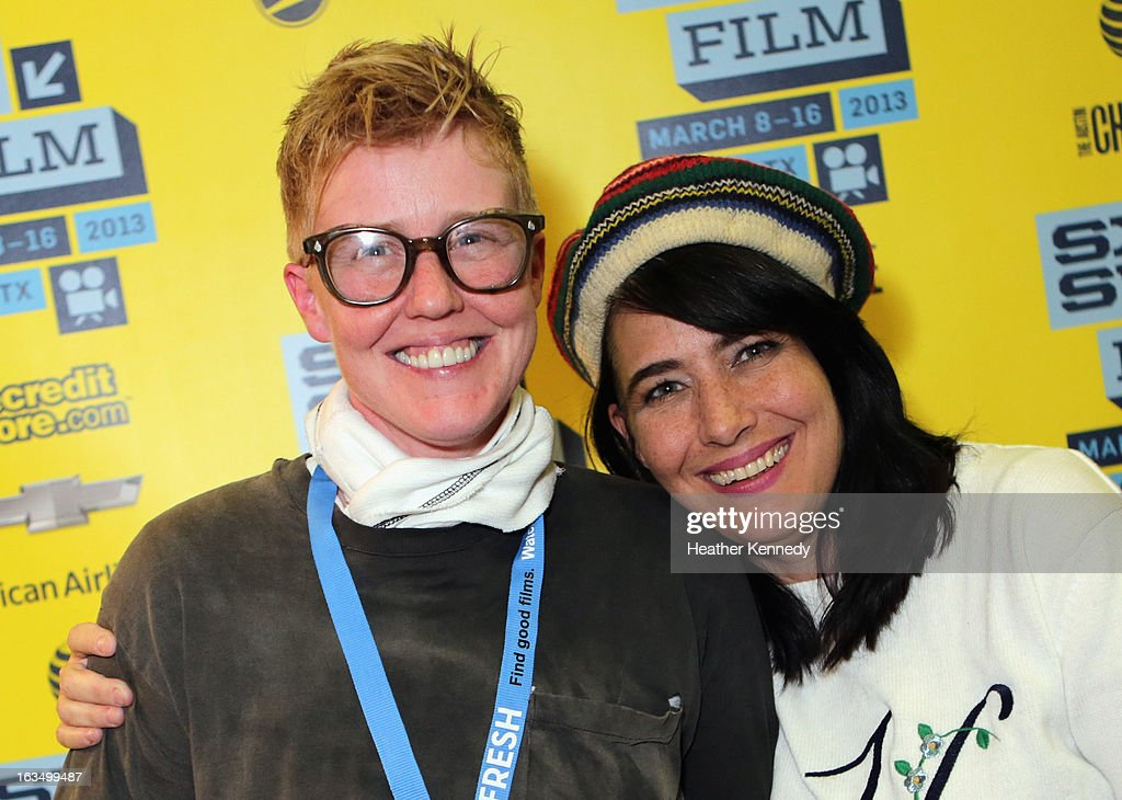 Director Sini Anderson and musician Kathleen Hanna pose in the greenroom at the screening of 'The Punk Singer' during the 2013 SXSW Music, Film + Interactive Festival at Austin Convention Center on March 10, 2013 in Austin, Texas.
