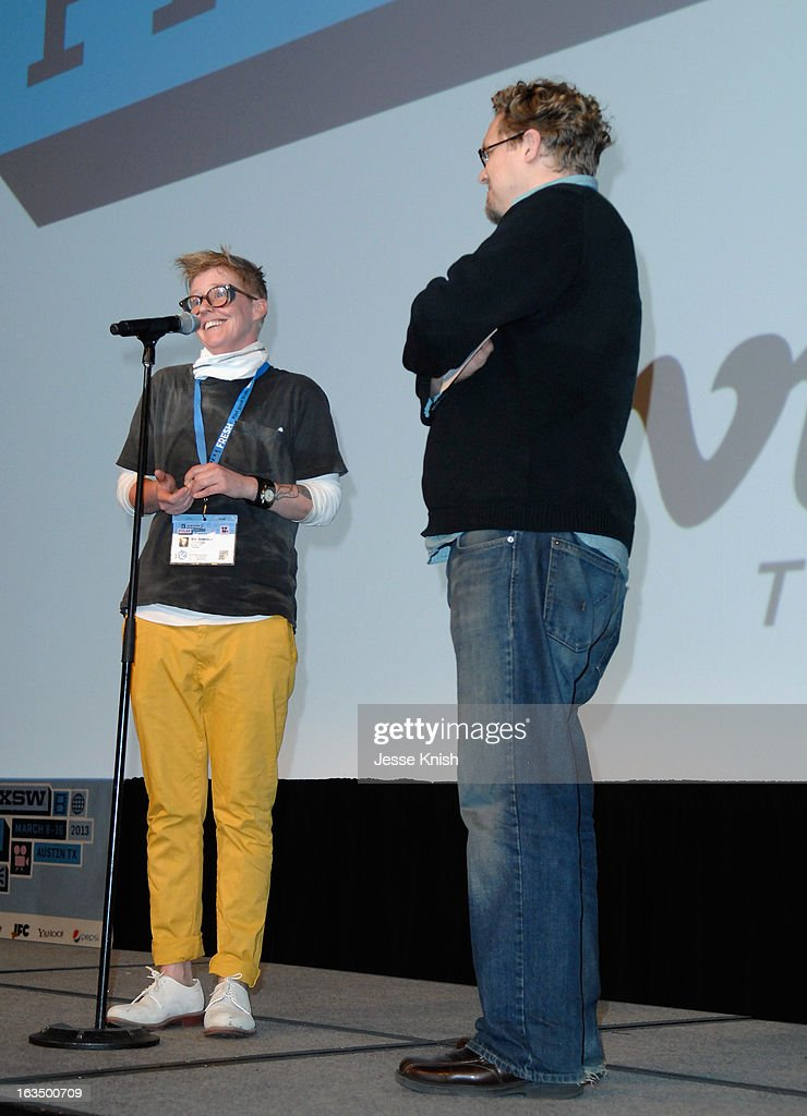 Director Sini Anderson (L) speaks onstage at 'The Punk Singer' Q&A during the 2013 SXSW Music, Film + Interactive Festival at Austin Convention Center on March 10, 2013 in Austin, Texas.
