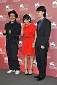 Director Sion Sono actress Fumi Nikaido and actor Shota Sometani arrive at the 'Himizu' Photocall at the Palazzo del Cinema during the 68th Venice...