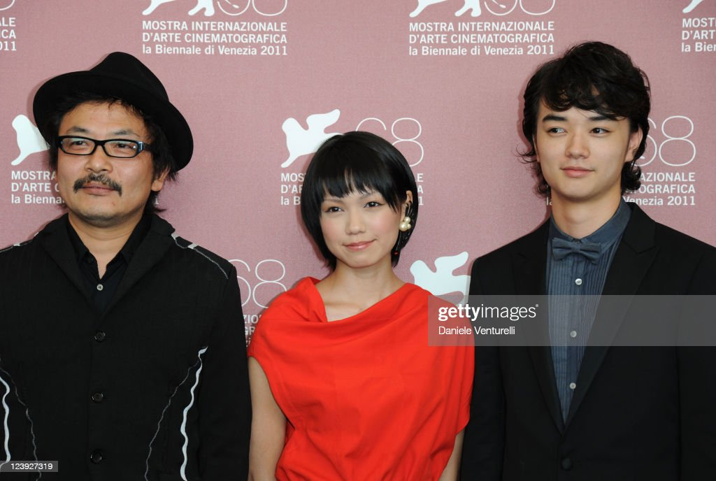 Director Sion Sono actress Fumi Nikaido and actor Shota Sometani attend the 'Himizu' Photocall during the 68th Venice International Film Festival at...