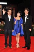 Director Sion Sono actress Fumi Nikaido and actor Shota Sometani attend the 'Himizu' Premiere during the 68th Venice Film Festival at Palazzo del...
