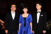 Director Sion Sono actress Fumi Nikaido and actor Shota Sometani attend the 'Himizu' Premiere during the 68th Venice International Film Festival at...