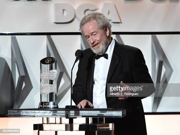 Director Sir Ridley Scott accepts the Lifetime Achievement in Feature Film Direction Award onstage during the 69th Annual Directors Guild of America...