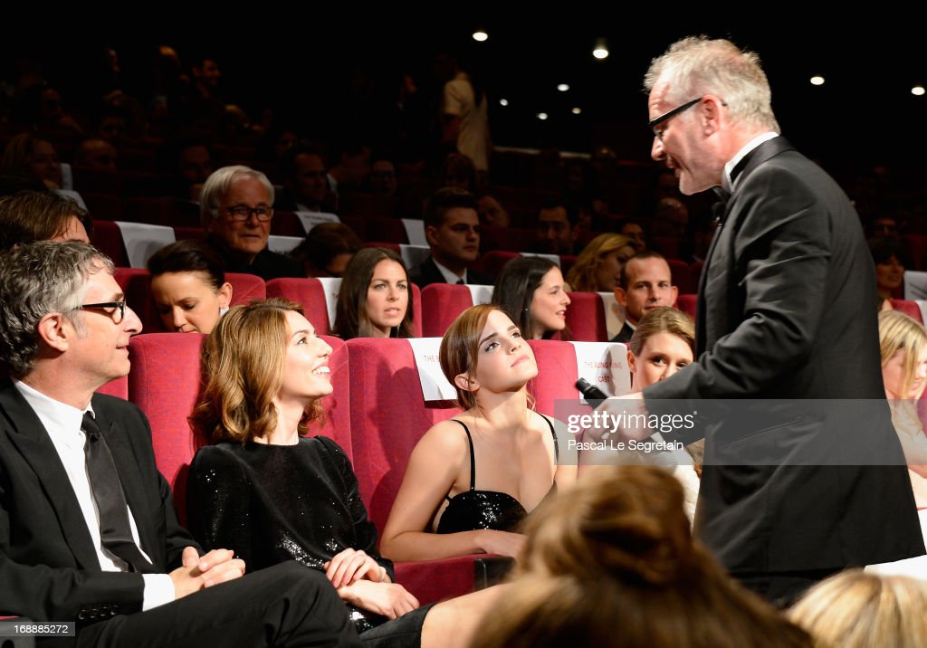Director Sofia Coppola and actress Emma Watson speak with Cannes Festival Artistic Director Thierry Fremaux at 'The Bling Ring' premiere during The 66th Annual Cannes Film Festival at the Palais des Festivals on May 16, 2013 in Cannes, France.