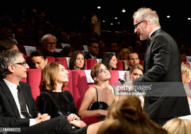 Director Sofia Coppola and actress Emma Watson speak with Cannes Festival Artistic Director Thierry Fremaux at 'The Bling Ring' premiere during The...