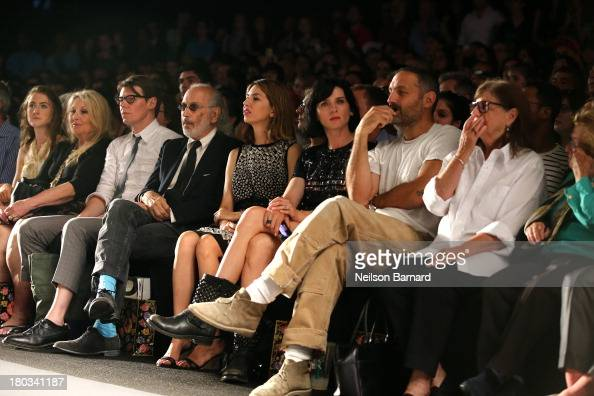 Director Sofia Coppola and actress Michele Hicks sit front row at the Anna Sui fashion show during MercedesBenz Fashion Week Spring 2014 at The...