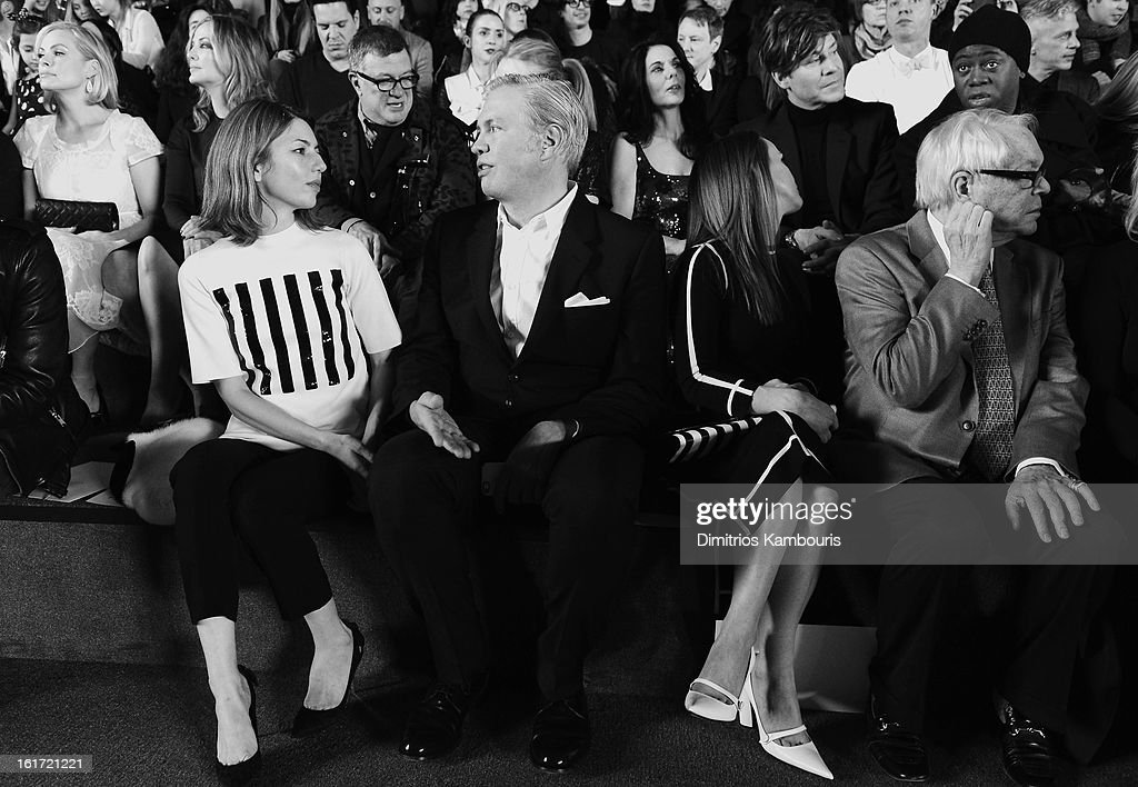Director Sofia Coppola, CEO of Marc Jacobs Robert Duffy and Christina Ricci attend the Marc Jacobs Collection Fall 2013 fashion show during Mercedes-Benz Fashion Week at New York Armory on February 14, 2013 in New York City.