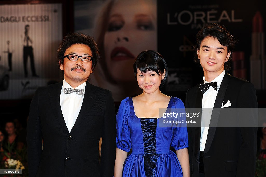 Director SonoSion actress Fumi Nikaido and actor Shota Sometani attend the 'Himizu' Premiere during the 68th Venice International Film Festival at...