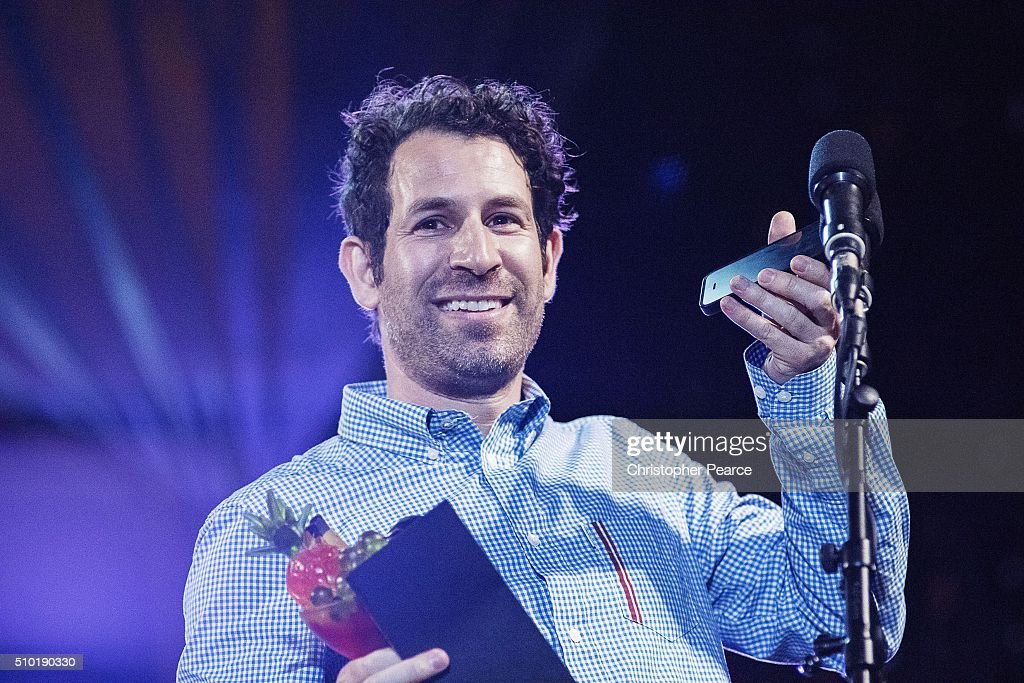 Director Spencer Susser, winner of Tropfest with his film 'Shiny', on stage during Tropfest 2016 at Centennial Park on February 14, 2016 in Sydney, Australia.