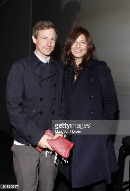 Director Spike Jonze and associate producer and actress Catherine Keener attend the Meet the Filmmaker series at the Apple Store Soho on October 12...