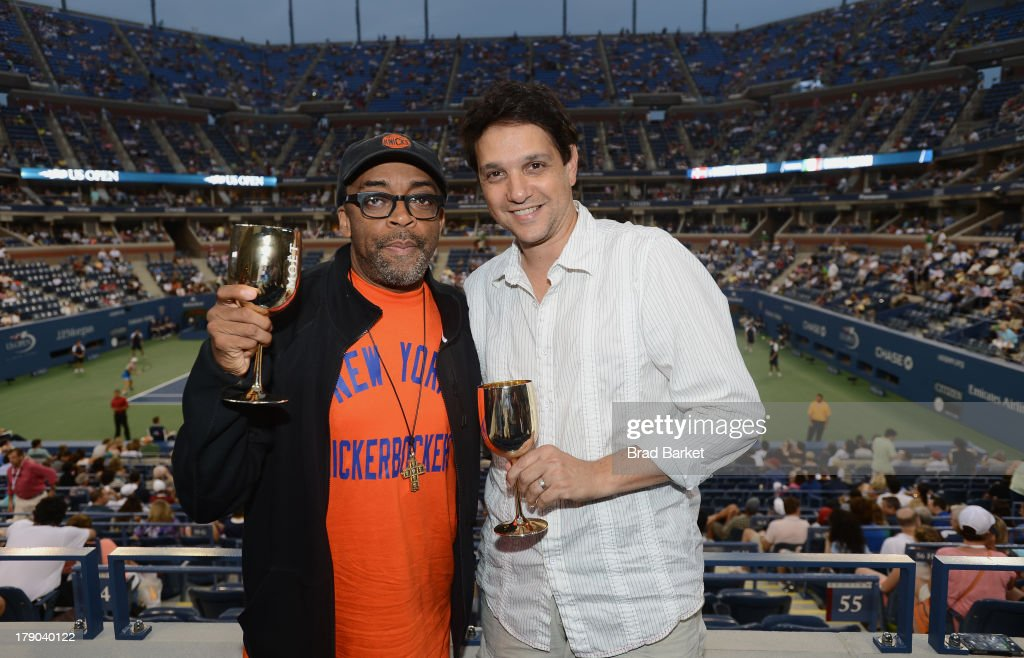 Director <a gi-track='captionPersonalityLinkClicked' href=/galleries/search?phrase=Spike+Lee&family=editorial&specificpeople=156419 ng-click='$event.stopPropagation()'>Spike Lee</a> and Actor <a gi-track='captionPersonalityLinkClicked' href=/galleries/search?phrase=Ralph+Macchio&family=editorial&specificpeople=235426 ng-click='$event.stopPropagation()'>Ralph Macchio</a> attend the Moet & Chandon Suite at USTA Billie Jean King National Tennis Center on August 31, 2013 in New York City.