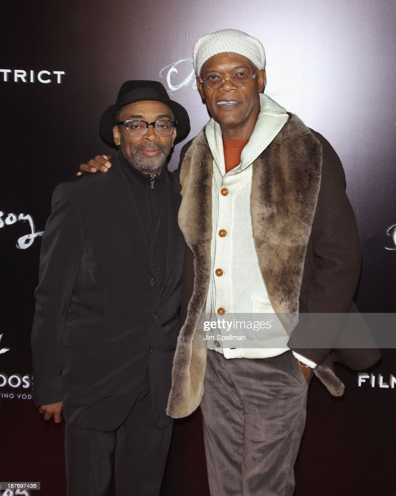 Director <a gi-track='captionPersonalityLinkClicked' href=/galleries/search?phrase=Spike+Lee&family=editorial&specificpeople=156419 ng-click='$event.stopPropagation()'>Spike Lee</a> and actor <a gi-track='captionPersonalityLinkClicked' href=/galleries/search?phrase=Samuel+L.+Jackson&family=editorial&specificpeople=167234 ng-click='$event.stopPropagation()'>Samuel L. Jackson</a> attend the FilmDistrict & Complex Media with The Cinema Society & Grey Goose screening of 'Oldboy' at AMC Lincoln Square Theater on November 11, 2013 in New York City.