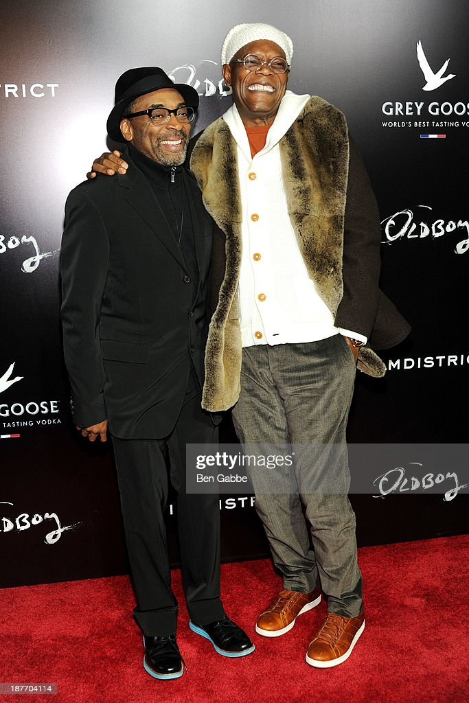 Director <a gi-track='captionPersonalityLinkClicked' href=/galleries/search?phrase=Spike+Lee&family=editorial&specificpeople=156419 ng-click='$event.stopPropagation()'>Spike Lee</a> (L) and actor <a gi-track='captionPersonalityLinkClicked' href=/galleries/search?phrase=Samuel+L.+Jackson&family=editorial&specificpeople=167234 ng-click='$event.stopPropagation()'>Samuel L. Jackson</a> attend the screening of 'Oldboy' hosted by FilmDistrict and Complex Media with the Cinema Society and Grey Goose at AMC Lincoln Square Theater on November 11, 2013 in New York City.