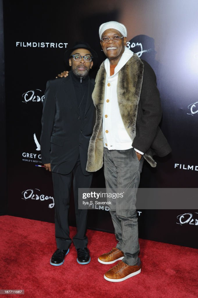 Director <a gi-track='captionPersonalityLinkClicked' href=/galleries/search?phrase=Spike+Lee&family=editorial&specificpeople=156419 ng-click='$event.stopPropagation()'>Spike Lee</a> and actor <a gi-track='captionPersonalityLinkClicked' href=/galleries/search?phrase=Samuel+L.+Jackson&family=editorial&specificpeople=167234 ng-click='$event.stopPropagation()'>Samuel L. Jackson</a> attend the screening of 'Oldboy' hosted by FilmDistrict and Complex Media with the Cinema Society and Grey Goose at AMC Lincoln Square Theater on November 11, 2013 in New York City.
