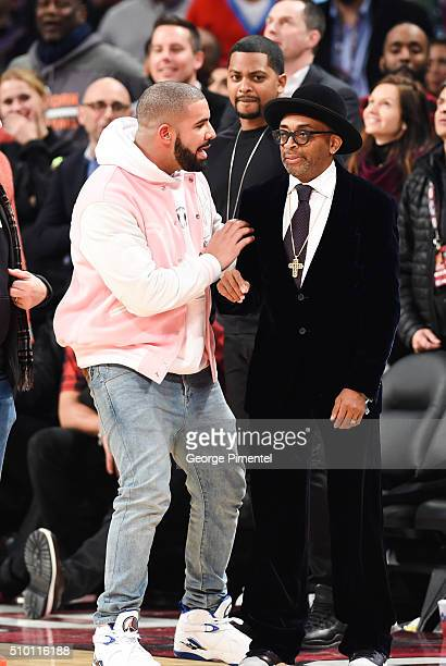 Director Spike Lee and Drake attend the 2016 NBA AllStar Saturday Night at Air Canada Centre on February 13 2016 in Toronto Canada