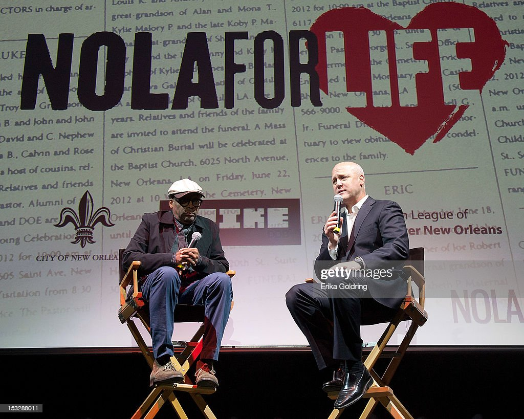 Director <a gi-track='captionPersonalityLinkClicked' href=/galleries/search?phrase=Spike+Lee&family=editorial&specificpeople=156419 ng-click='$event.stopPropagation()'>Spike Lee</a> and New Orleans Mayor Mitch Landrieu address attendees at the 'Flip the Script' Public Awareness campaign launch at The Joy Theater on October 2, 2012 in New Orleans, Louisiana.