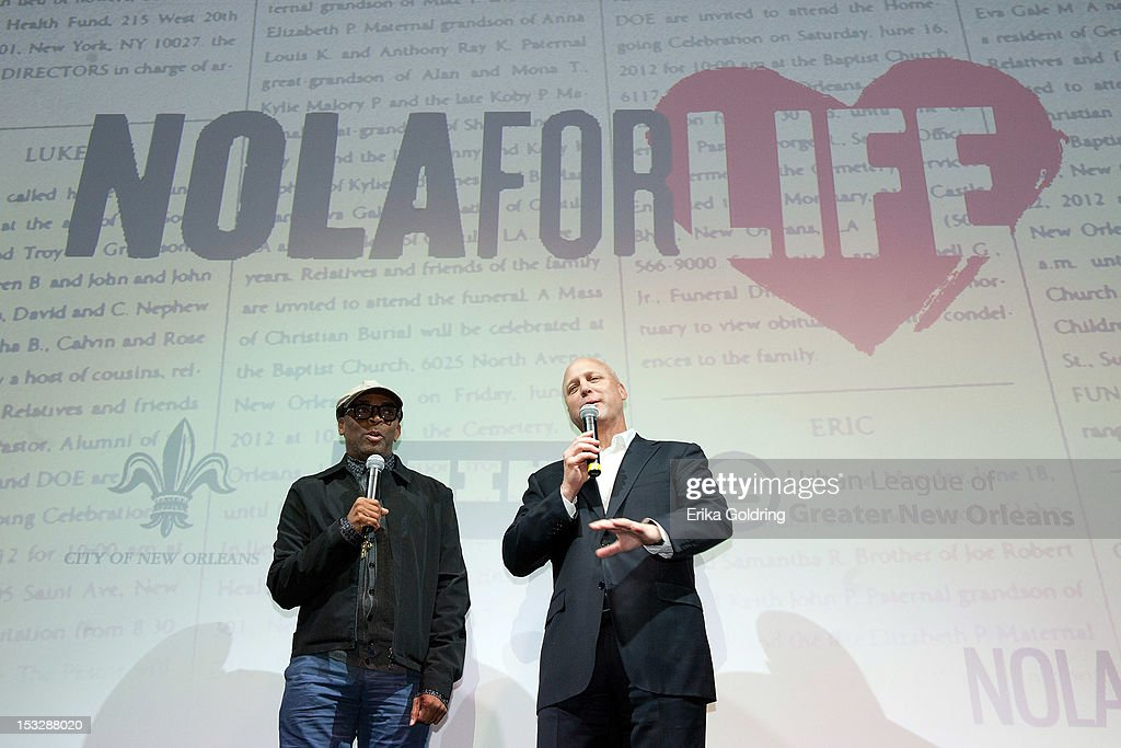 Director Spike Lee and New Orleans Mayor Mitch Landrieu address attendees at the 'Flip the Script' Public Awareness campaign launch at The Joy Theater on October 2, 2012 in New Orleans, Louisiana.