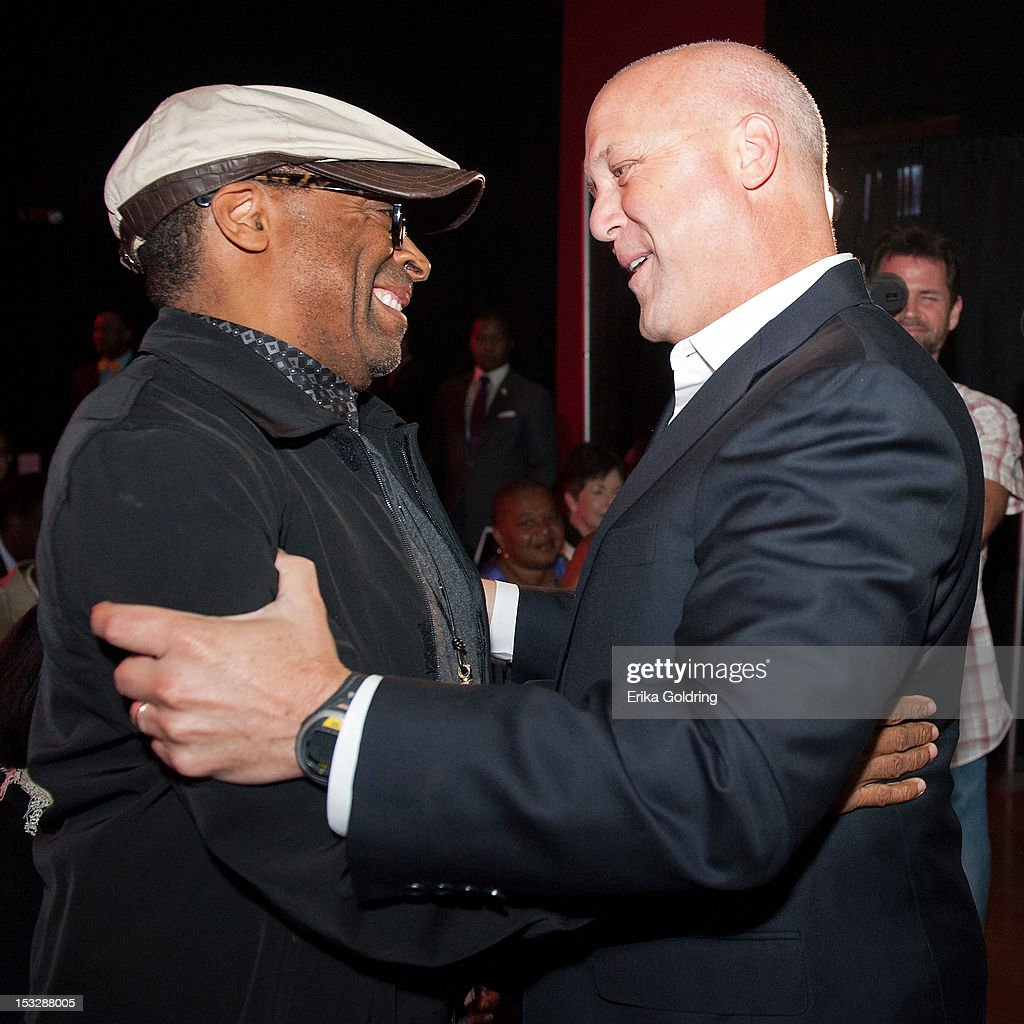 Director Spike Lee and New Orleans Mayor Mitch Landrieu attend the 'Flip the Script' Public Awareness campaign launch at The Joy Theater on October 2, 2012 in New Orleans, Louisiana.