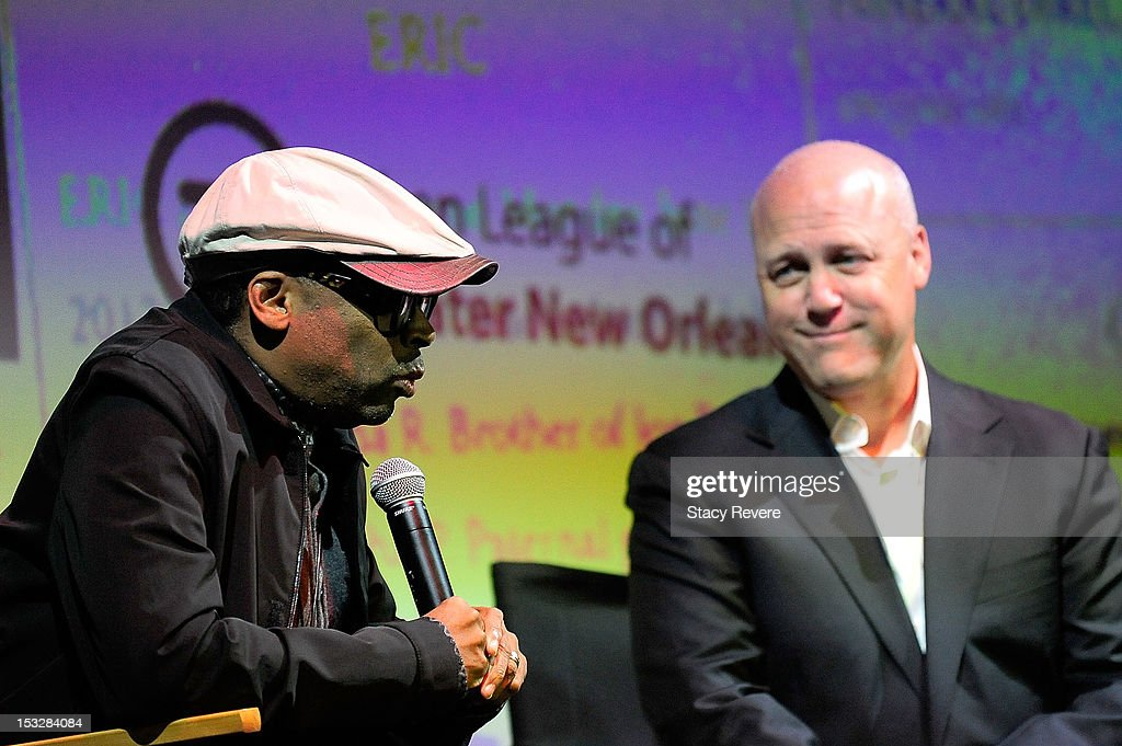 Director Spike Lee and New Orleans Mayor Mitch Landrieu speak to the audience for the 'Flip the Script' Public Awareness campaign launch at The Joy Theater on October 2, 2012 in New Orleans, Louisiana.