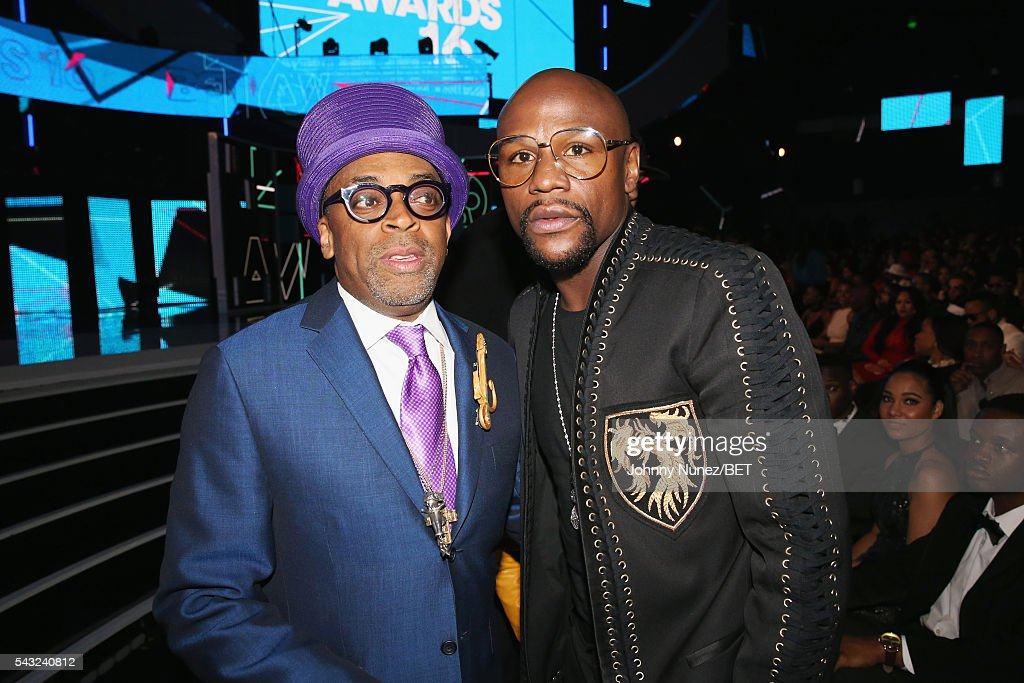 Director Spike Lee (L) and professional boxer Floyd Mayweather attend the 2016 BET Awards at the Microsoft Theater on June 26, 2016 in Los Angeles, California.