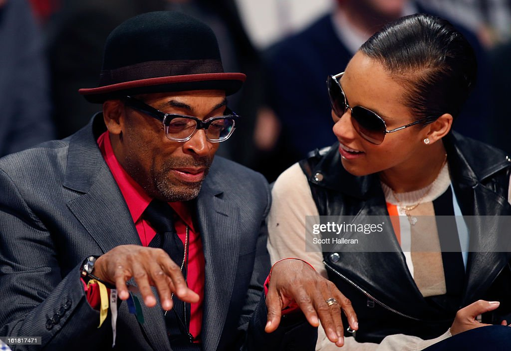 Director <a gi-track='captionPersonalityLinkClicked' href=/galleries/search?phrase=Spike+Lee&family=editorial&specificpeople=156419 ng-click='$event.stopPropagation()'>Spike Lee</a> and singer <a gi-track='captionPersonalityLinkClicked' href=/galleries/search?phrase=Alicia+Keys&family=editorial&specificpeople=169877 ng-click='$event.stopPropagation()'>Alicia Keys</a> talk during the Taco Bell Skills Challenge part of 2013 NBA All-Star Weekend at the Toyota Center on February 16, 2013 in Houston, Texas.