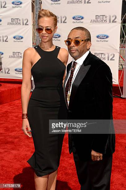 Director Spike Lee and Tonya Lewis arrive at the 2012 BET Awards at The Shrine Auditorium on July 1 2012 in Los Angeles California