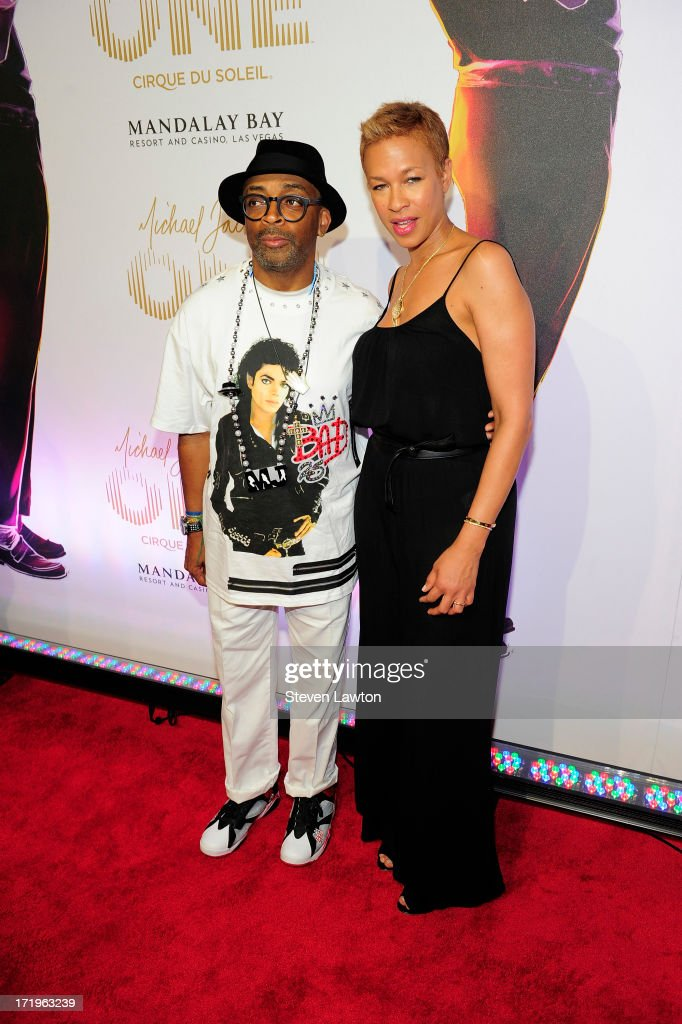 Director <a gi-track='captionPersonalityLinkClicked' href=/galleries/search?phrase=Spike+Lee&family=editorial&specificpeople=156419 ng-click='$event.stopPropagation()'>Spike Lee</a> (L) and <a gi-track='captionPersonalityLinkClicked' href=/galleries/search?phrase=Tonya+Lewis+Lee&family=editorial&specificpeople=591625 ng-click='$event.stopPropagation()'>Tonya Lewis Lee</a> arrive at the world premiere of 'Michael Jackson ONE by Cirque du Soleil' at THEhotel at Mandalay Bay on June 29, 2013 in Las Vegas, Nevada.