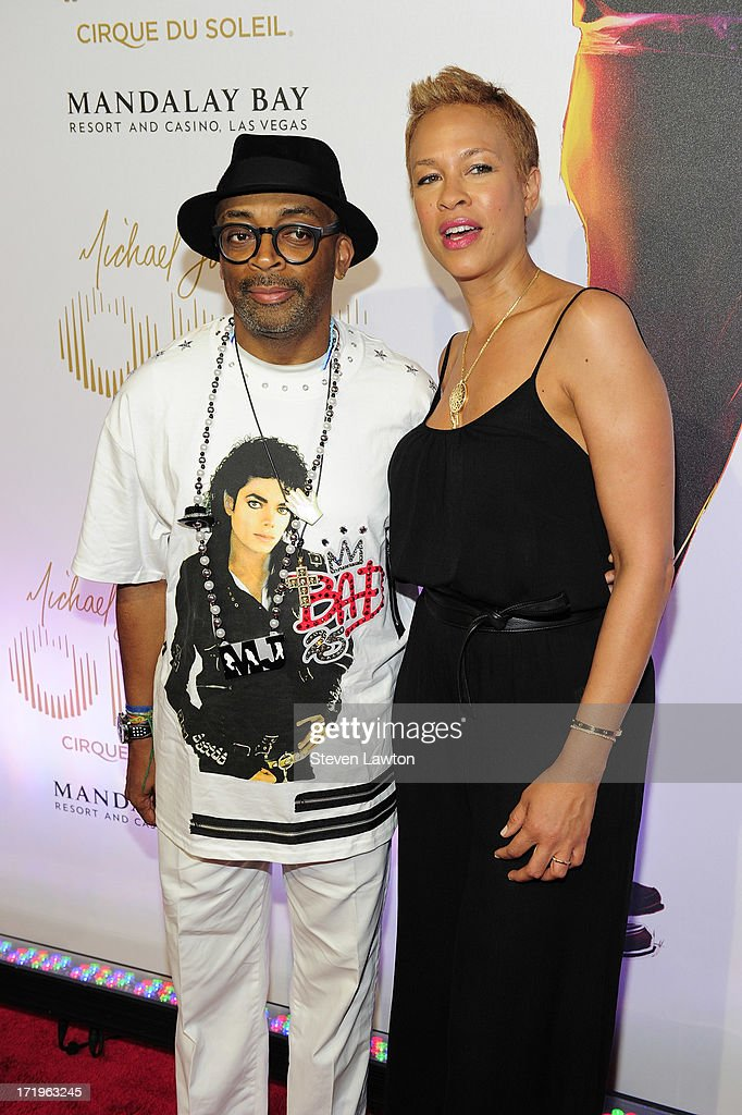 Director Spike Lee (L) and Tonya Lewis Lee arrive at the world premiere of 'Michael Jackson ONE by Cirque du Soleil' at THEhotel at Mandalay Bay on June 29, 2013 in Las Vegas, Nevada.