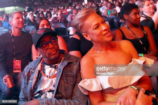Director Spike Lee and Tonya Lewis Lee in the audience at the 2017 ESSENCE Festival Presented By Coca Cola at the MercedesBenz Superdome on July 1...