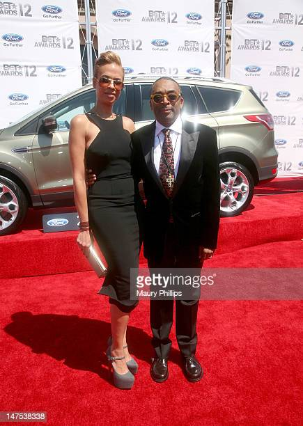 Director Spike Lee and wife Tonya Lewis Lee arrive at the 2012 BET Awards at The Shrine Auditorium on July 1 2012 in Los Angeles California