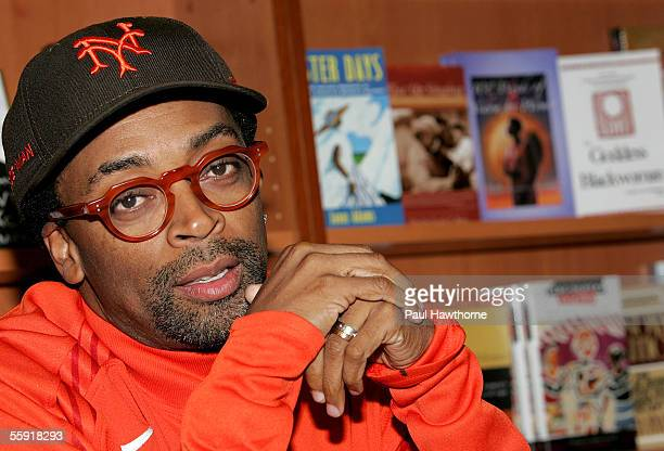 Director Spike Lee answers questions during a book signing for 'That's My Story and I'm Sticking to It' at Harlem's HueMan book store October 13 2005...