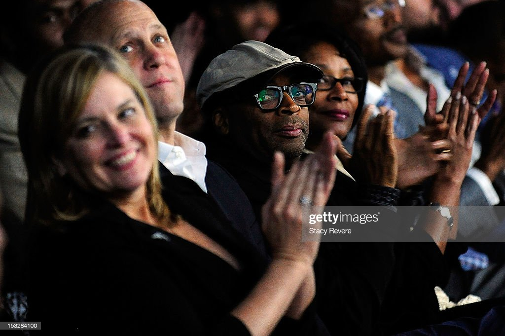 Director <a gi-track='captionPersonalityLinkClicked' href=/galleries/search?phrase=Spike+Lee&family=editorial&specificpeople=156419 ng-click='$event.stopPropagation()'>Spike Lee</a> applauds a speaker while attending the 'Flip the Script' Public Awareness campaign launch at The Joy Theater on October 2, 2012 in New Orleans, Louisiana.