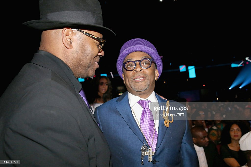 Director <a gi-track='captionPersonalityLinkClicked' href=/galleries/search?phrase=Spike+Lee&family=editorial&specificpeople=156419 ng-click='$event.stopPropagation()'>Spike Lee</a> (R) attends the 2016 BET Awards at the Microsoft Theater on June 26, 2016 in Los Angeles, California.