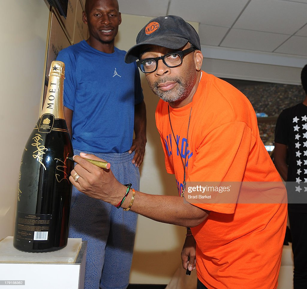 Director <a gi-track='captionPersonalityLinkClicked' href=/galleries/search?phrase=Spike+Lee&family=editorial&specificpeople=156419 ng-click='$event.stopPropagation()'>Spike Lee</a> attends the Moet & Chandon Suite at USTA Billie Jean King National Tennis Center on August 31, 2013 in New York City.