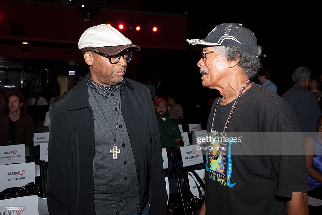 Director Spike Lee chats with New Orleans resident Eustis Guillenet at the 'Flip the Script' Public Awareness campaign launch at The Joy Theater on October 2, 2012 in New Orleans, Louisiana.
