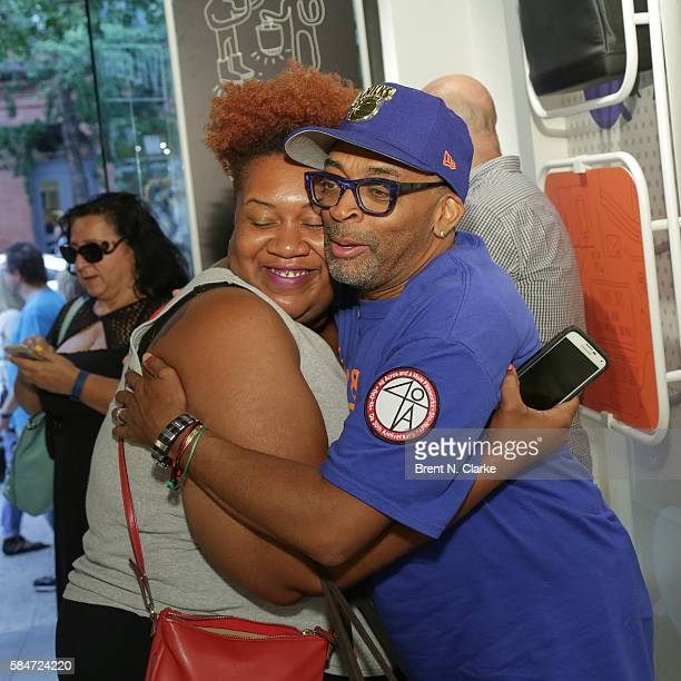 Director Spike Lee greets a fan during the celebration of the 30th anniversary of 'She's Gotta Have It' book signing held at the Moleskine Store on...