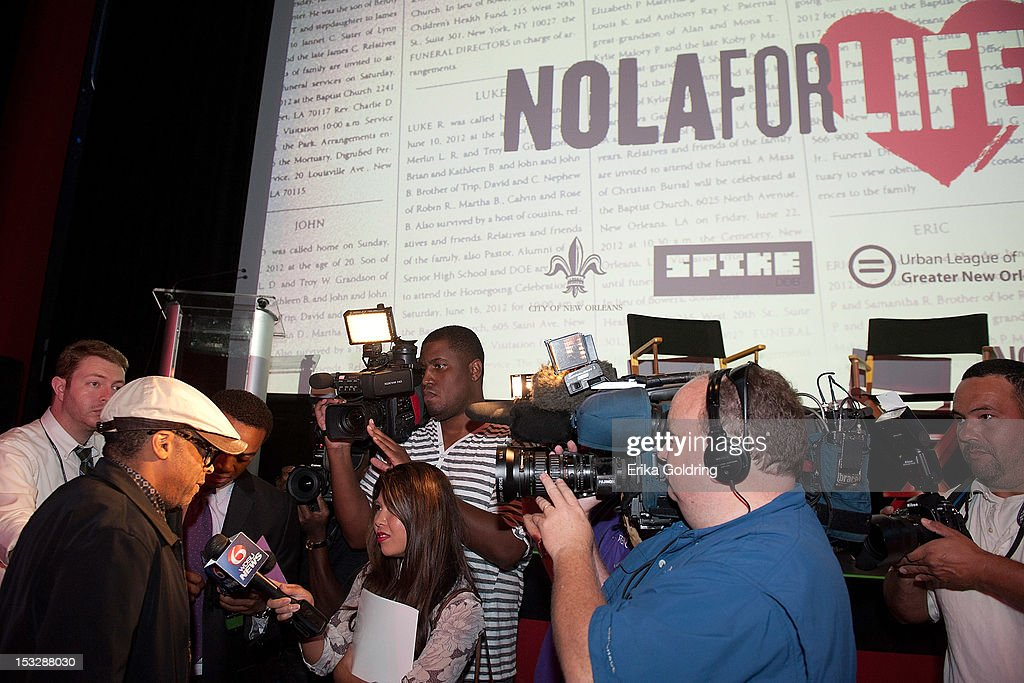 Director <a gi-track='captionPersonalityLinkClicked' href=/galleries/search?phrase=Spike+Lee&family=editorial&specificpeople=156419 ng-click='$event.stopPropagation()'>Spike Lee</a> is interviewed by the media at the 'Flip the Script' Public Awareness campaign launch at The Joy Theater on October 2, 2012 in New Orleans, Louisiana.
