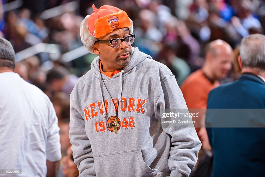 Director Spike Lee looks on during a game between the Atlanta Hawks and New York Knicks at Madison Square Garden on January 27, 2013 in New York, New York.
