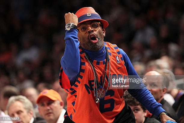 Director Spike Lee reacts as the New York Knicks play against the Boston Celtics in Game Three of the Eastern Conference Quarterfinals in the 2011...