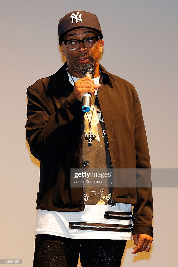 Director <a gi-track='captionPersonalityLinkClicked' href=/galleries/search?phrase=Spike+Lee&family=editorial&specificpeople=156419 ng-click='$event.stopPropagation()'>Spike Lee</a> speaks at the 'Bad 25' Premiere during the 2012 Toronto International Film Festival held at the Ryerson Theatre on September 15, 2012 in Toronto, Canada.