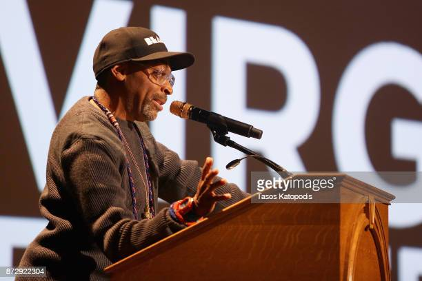 Director Spike Lee speaks onstage at the '4 Little Girls' screening and QA at Paramount Theater during the 30th Annual Virginia Film Festival at the...
