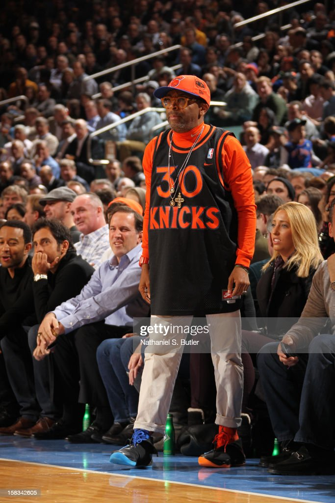 Director Spike Lee sports the Jordan Brand XX8 sneakers in support of the New York Knicks on December 13, 2012 at Madison Square Garden in New York City.