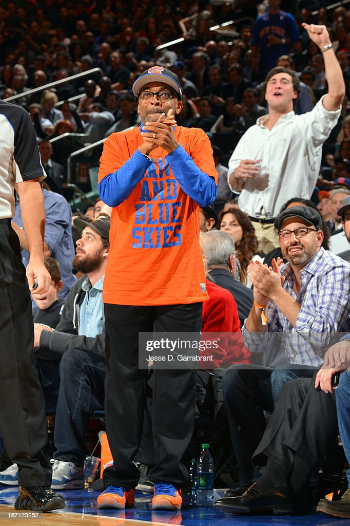 Director Spike Lee supports the New York Knicks against the Charlotte Bobcats during the game on November 5, 2013 at Madison Square Garden in New York City, New York.