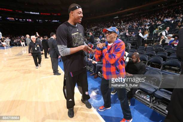 Director Spike Lee talks to Paul Pierce of the LA Clippers before the game against the New York Knicks on February 8 2017 at Madison Square Garden in...