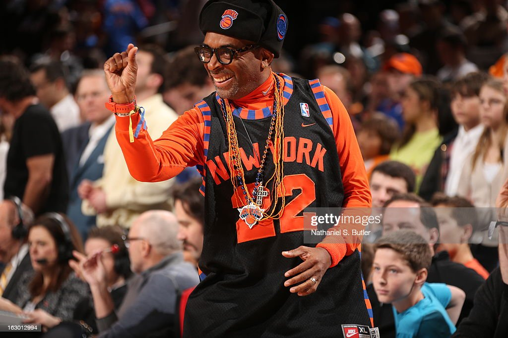 Director Spike Lee watching the New York Knicks play the Miami Heat on March 3, 2013 at Madison Square Garden in New York City.