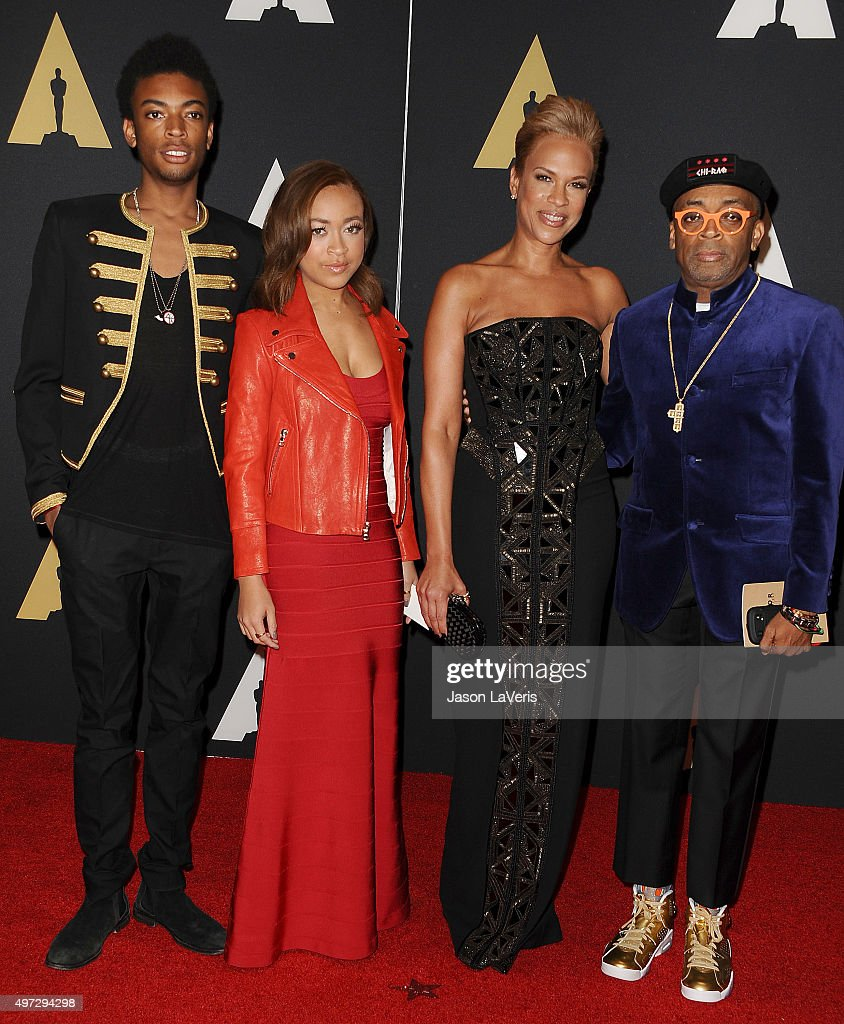Director Spike Lee, wife Tonya Lewis Lee and children Jackson Lee and Satchel Lee attend the 7th annual Governors Awards at The Ray Dolby Ballroom at Hollywood & Highland Center on November 14, 2015 in Hollywood, California.