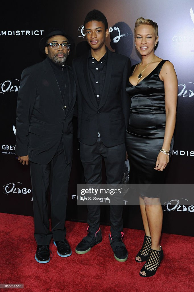 Director <a gi-track='captionPersonalityLinkClicked' href=/galleries/search?phrase=Spike+Lee&family=editorial&specificpeople=156419 ng-click='$event.stopPropagation()'>Spike Lee</a>, wife <a gi-track='captionPersonalityLinkClicked' href=/galleries/search?phrase=Tonya+Lewis+Lee&family=editorial&specificpeople=591625 ng-click='$event.stopPropagation()'>Tonya Lewis Lee</a>, and son Jackson Lee attend the screening of 'Oldboy' hosted by FilmDistrict and Complex Media with the Cinema Society and Grey Goose at AMC Lincoln Square Theater on November 11, 2013 in New York City.