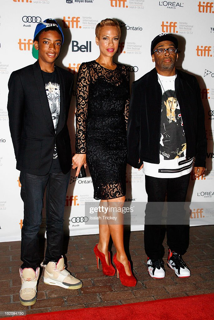 Director Spike Lee (R) with wife Tonya Lewis Lee (C) and son Jackson Lee attend the 'Bad 25' Premiere during the 2012 Toronto International Film Festival
