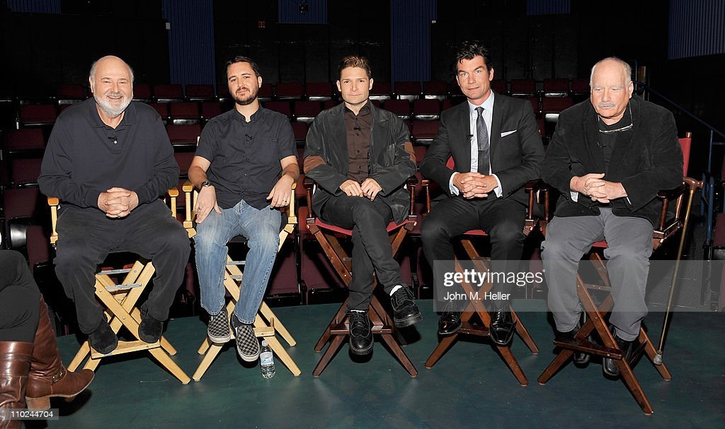 Director 'Stand By Me' Rob Reiner actors Wil Wheaton Corey Feldman Jerry O'Connell and Richard Dreyfuss attend the 25th Anniversary interview with...