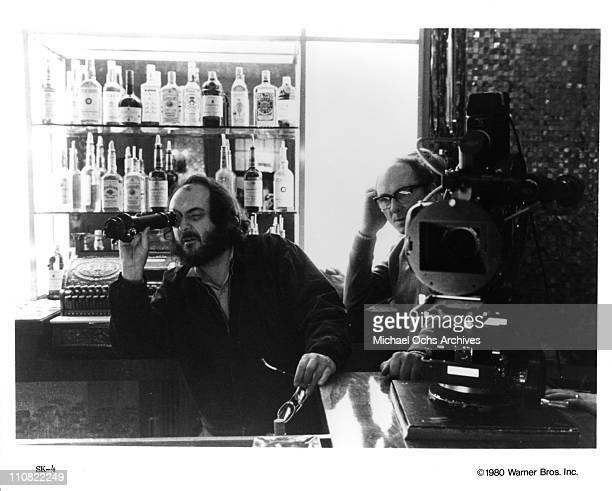 Director Stanley Kubrick and cinematograper John Alcott on the set of the Warner Bros movie 'The Shining' in 1980 at Elstree Studios in Borehamwood...